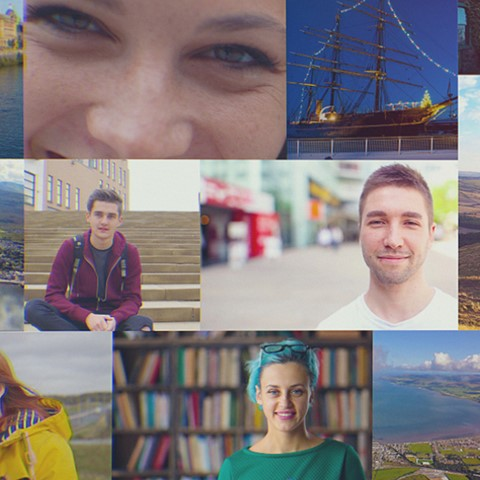Collage of images of students and Scottish landmarks