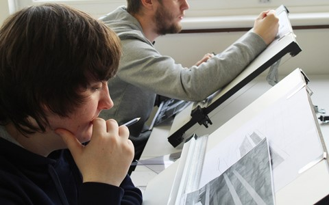 students at drawing boards