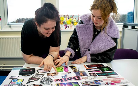 students creating moodboard