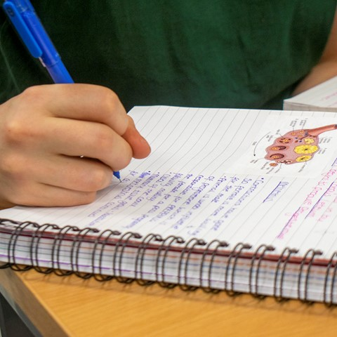 student writing in notepad