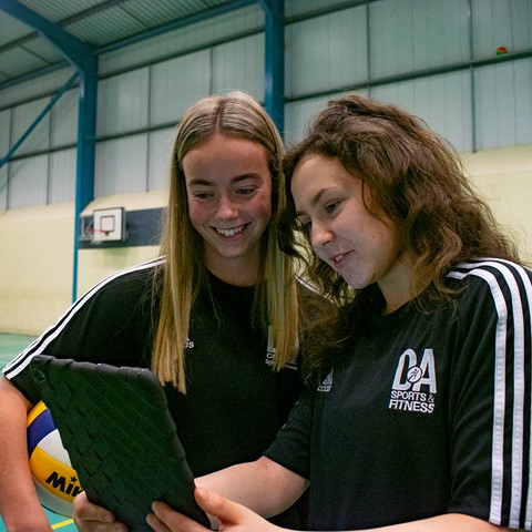 sport students with tablet