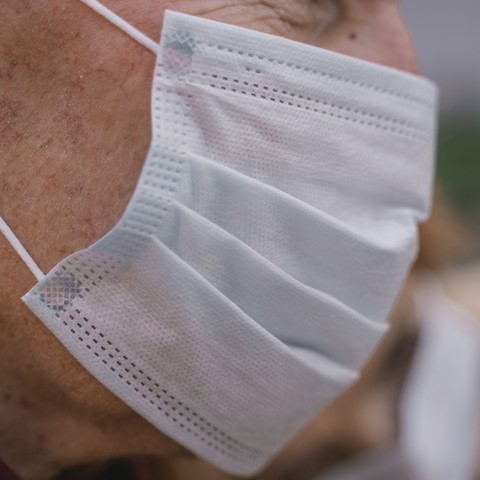 close up of n95 face mask